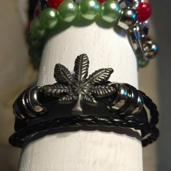 Jewelry - Leather Pot Leaf Bracelet - Titanium Jewelry Party